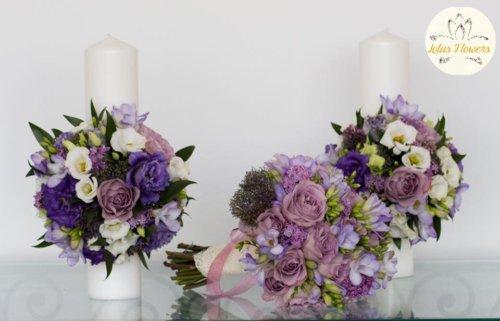 lumanare nunta mov pastel