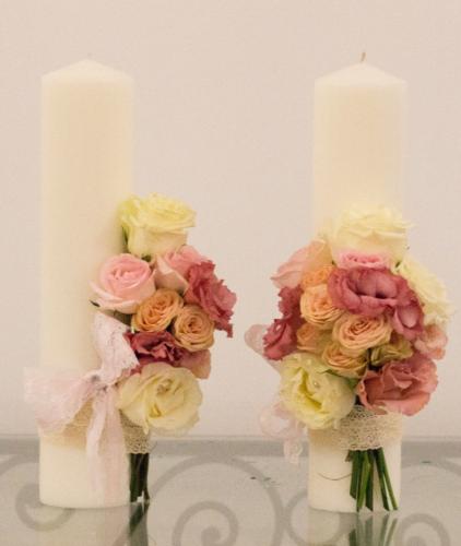 lumanare nunta pastel roz
